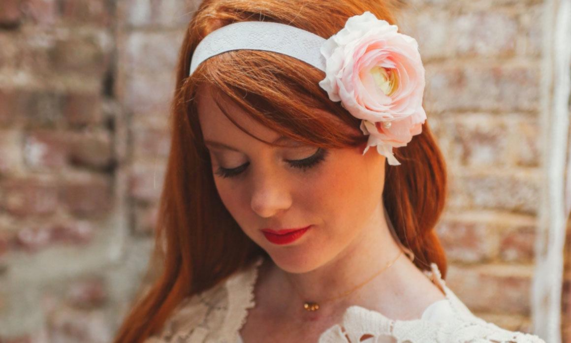 headband mariage renoncule ton poudré poudre rose blanc réalisation artisanale