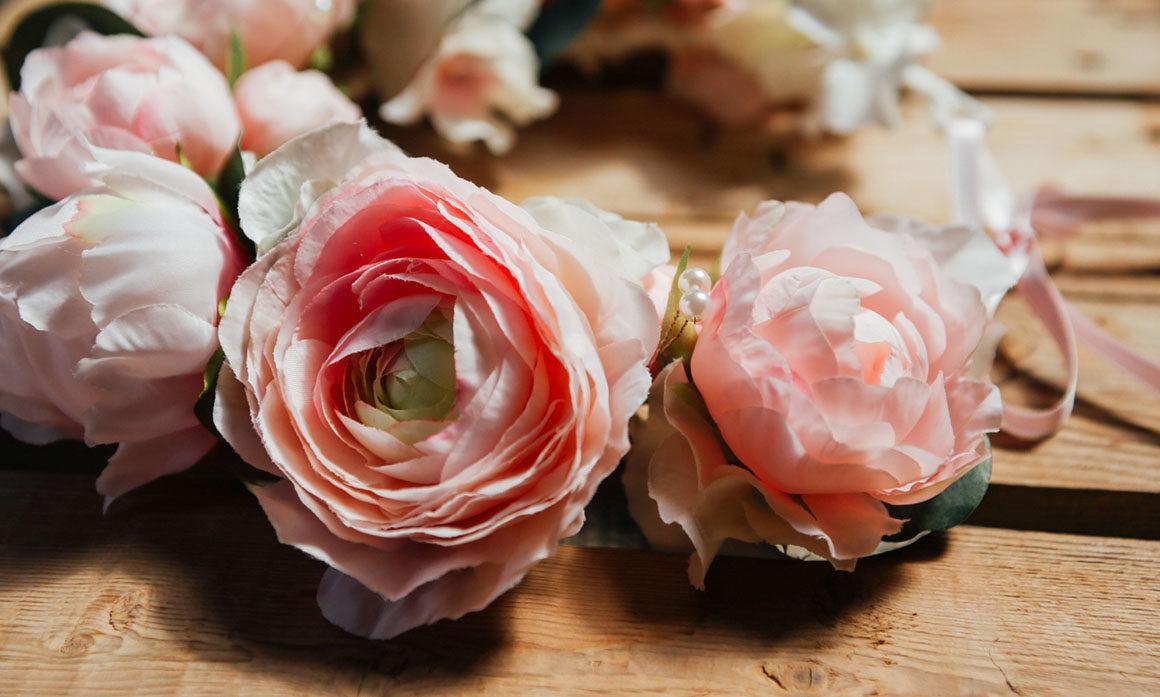 couronne de fleurs mariage poudré pivoine satin élégance fait main