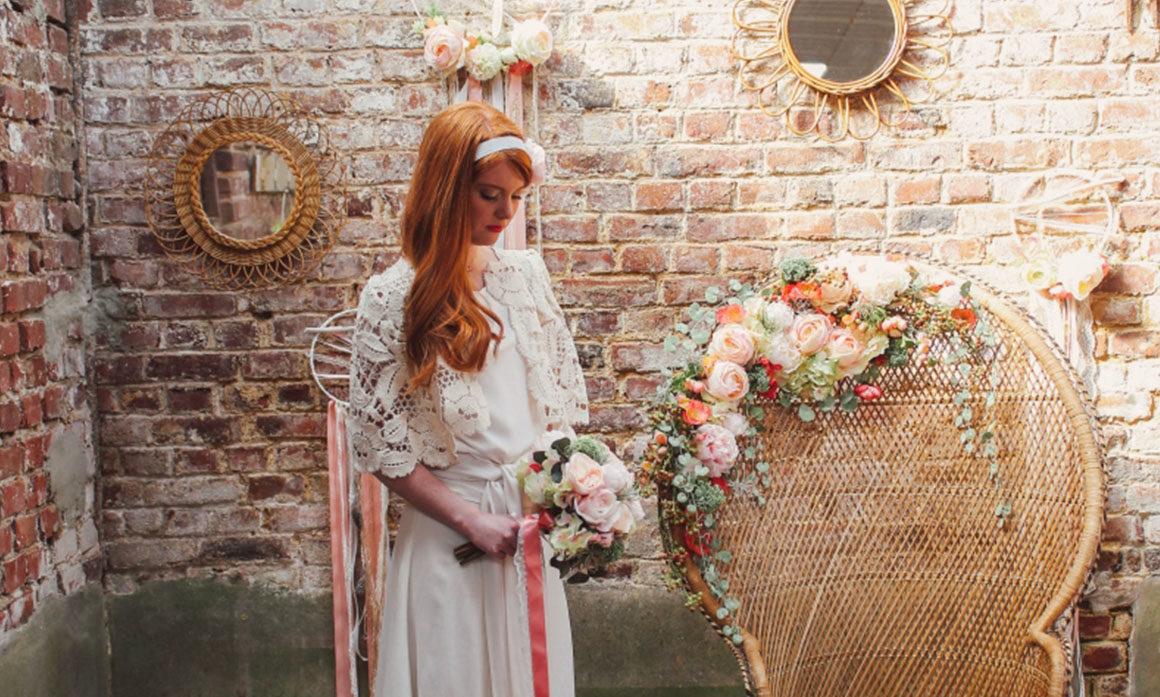 deco déco mariage fleur rose pivoine miroir rotin ambiance élégante