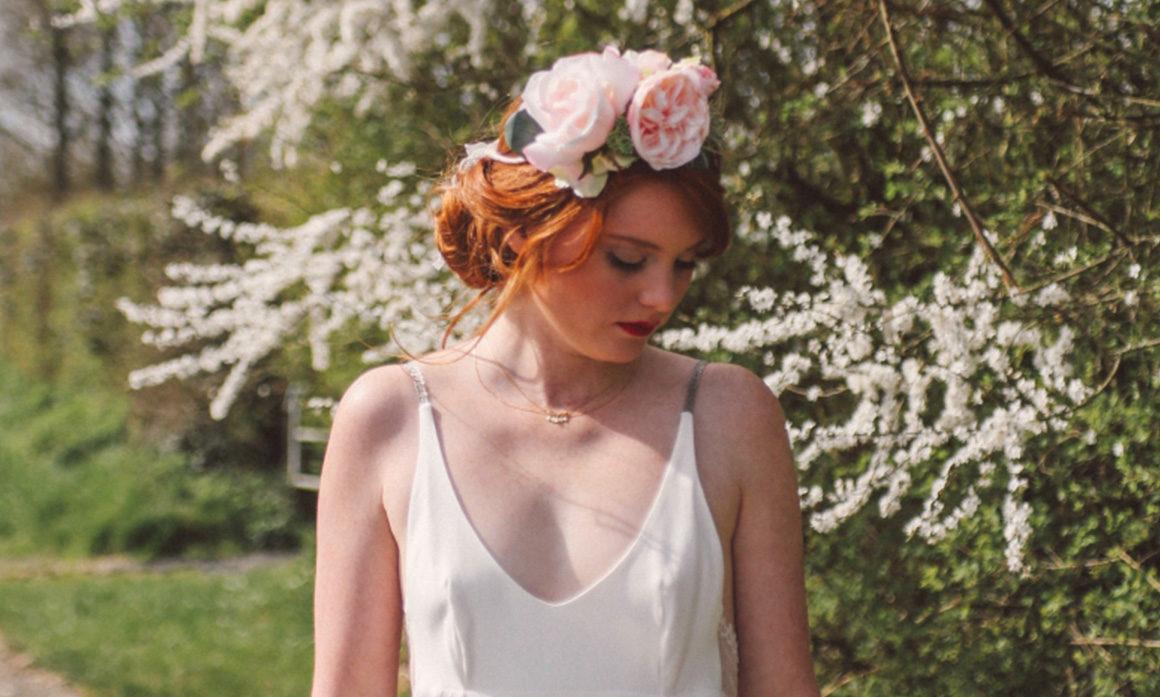 Fleur de cerisier mariage accessoire ton pastel dentelle romantique originalité