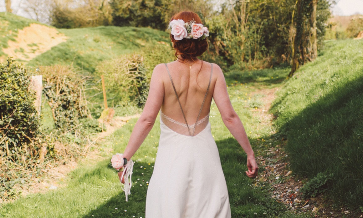 robe de mariée Orlane Herbin fleurs nude de mariage pastel délicatesse vintage mariage