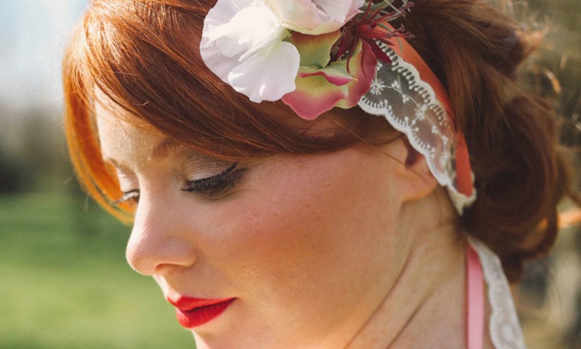 headband mariage lillois rétro dentelle plume fleur vieux rose marsala bandeau