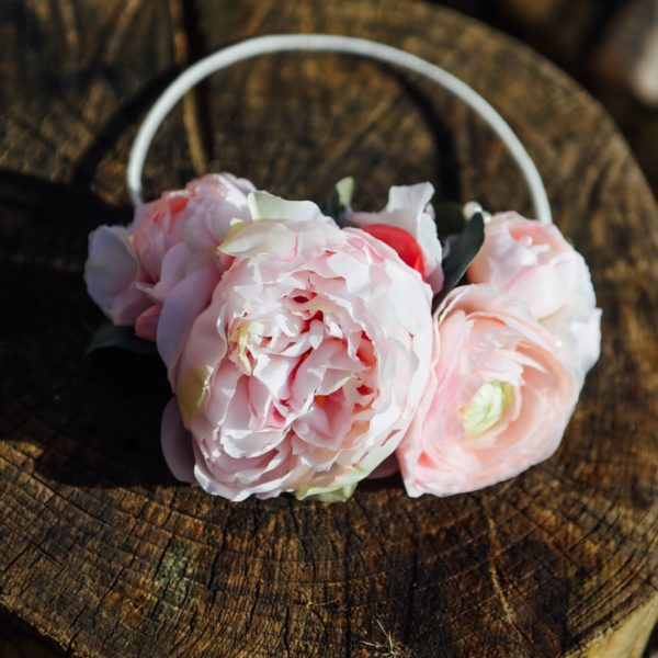 headband mariage fleur rose pivoine romantique chic bohème cheveux glamour Headband Mademoiselle Maeva Colette Bloom