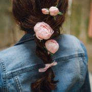 pince cheveux pivoine enfant cérémonie baptême communion rose romantique pivoine