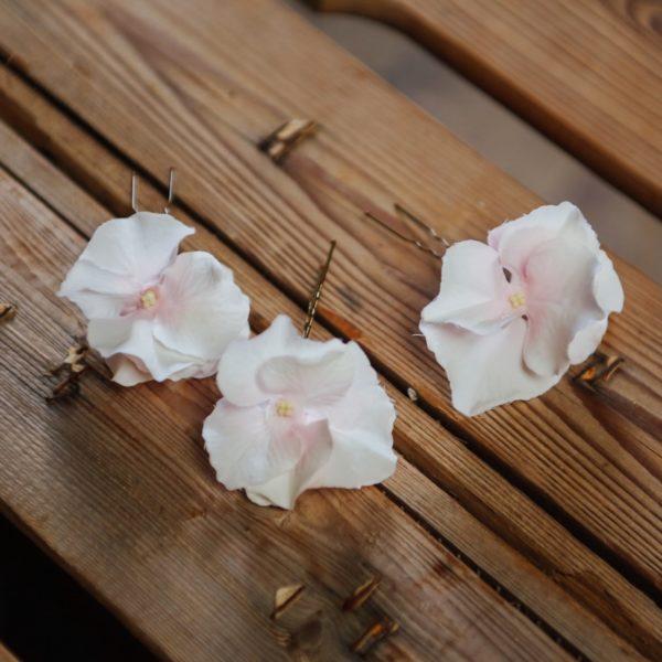 Pince fleur mariage fillette rose hortensia cheveux barette fée kid nature