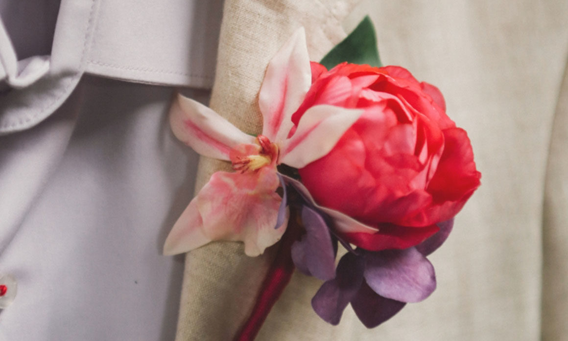 accessoire homme pour mariage rose violet