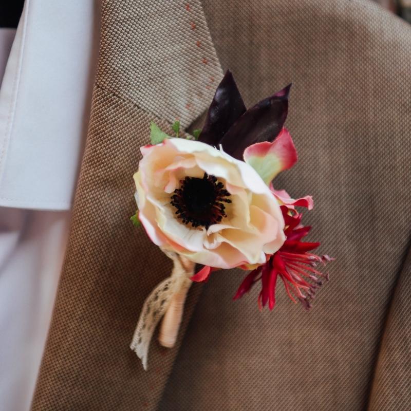 boutonnière mariage accessoire homme fleur artificielle colette bloom