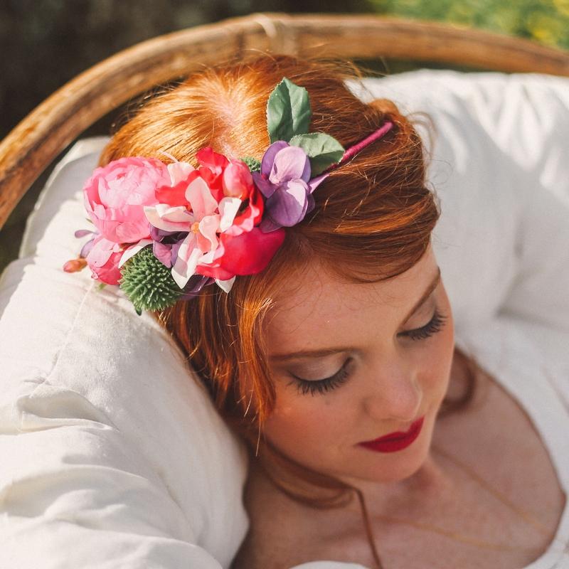 Bandeau et couronne de fleurs artificielle mariage cérémonie qualité