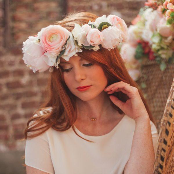 couronne de fleurs mariage pivoine rose poudr chic colette bloom. Black Bedroom Furniture Sets. Home Design Ideas