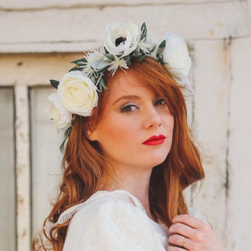 grosse couronne de fleurs pour mariage artificielle haut de gamme boutique choix colette bloom
