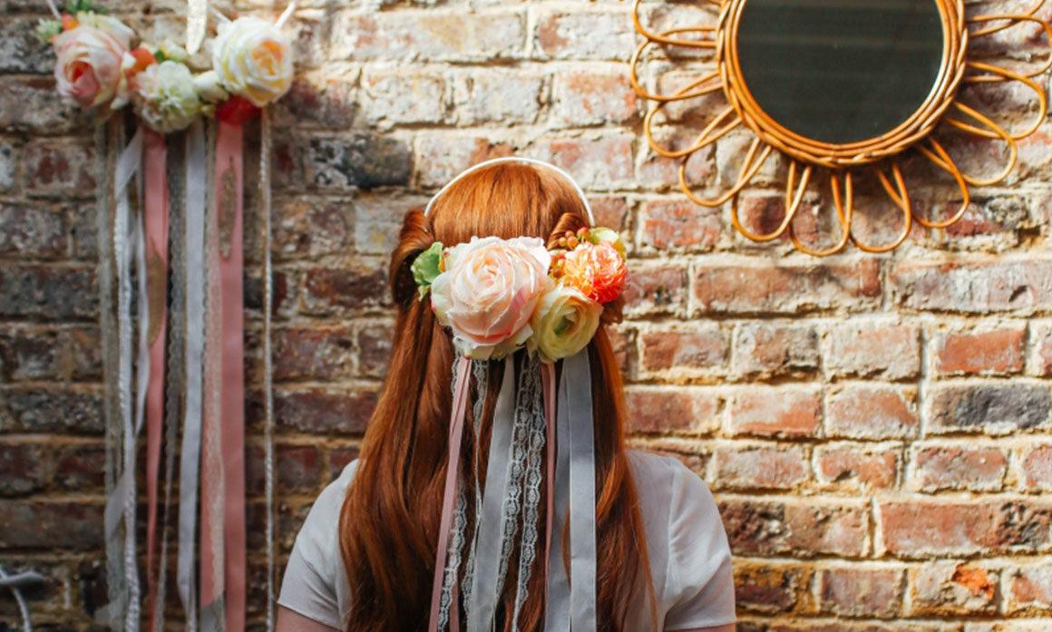 ruban attrape-rêve miroir rotin déco mariage fleur Lille attrape reve corail