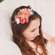 accessoire de tête petite fille d'honneur orchidée coquelicot rose ruban mariage champêtre chic