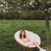 bijou de tête petite fille d'honneur ruban couronnes de fleurs eucalyptus hortensia camaïeu de rose