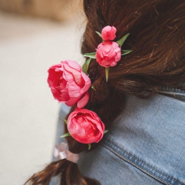 Pince fleur fuchsia mariage fillette fuchia cheveux barette fée kid nature violette