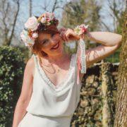 fleurs cheveux mariée romantique vintage rose poudré marsala printanier