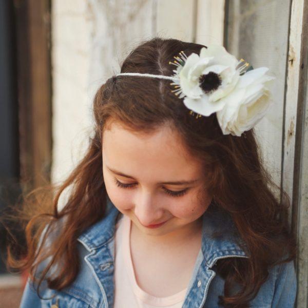 accessoire de tête petite fille d'honneur renoncule anémone blanche dentelle mariage hiver nature
