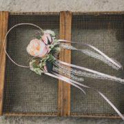 Head Band fillette cérémonie fleur rose clair naturel vintage romantique