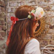 accessoire de tête mariage élégant coquelicot rose fleurs de pommier