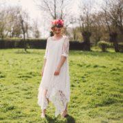 couronne de fleurs colorée rose champêtre chic mariée