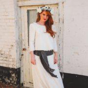 robe de mariée Orlane Herbin couronne de fleurs authenticité gris argenté