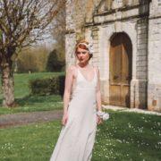 bandeau élégant accessoire petite mariage fleurs blanc orchidée Colette Bloom bandeau Mademoiselle Aurelia