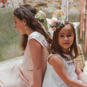 couronne de fleurs rose bucolique rétro mariage enfant