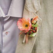 Boutonnière marié coquelicot ton pastel fleur bucolique champêtre mademoiselle margot