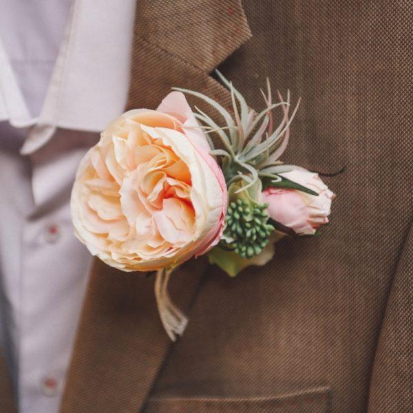 Boutonniere De Mariage Avec Rose Ton Poudre Pour Homme Colette Bloom