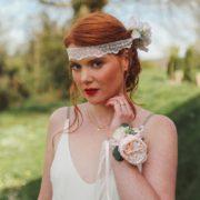 bracelet demoiselle d'honneur mariage rose tendre chic Orlane Herbin