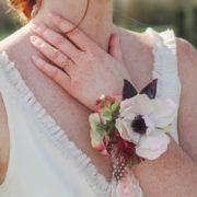 Bracelet fleuri ruban mariage demoiselle d'honneur délicat retro poudré mademoiselle emmanuelle
