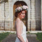 Courone couronne de fleurs mariage thème vintage bucolique rose pâle eucalyptus Mademoiselle Marie