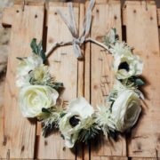 accessoire de tête renoncule anémone blanche dentelle mariage hiver nature