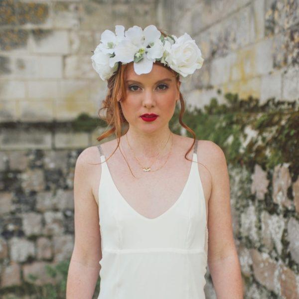 Courone couronne de fleurs rose blanc orchidée blanche mariage thème chic classe sobre couronne flowerpower Mademoiselle aurelia