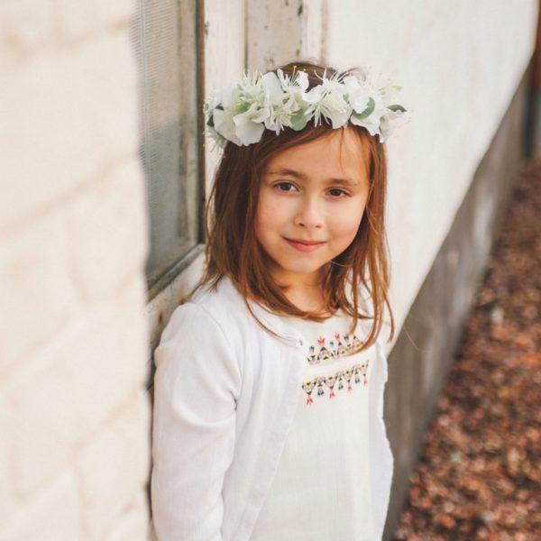 Couronne De Fleurs Blanche Pour Petite Fille En Ceremonie Colette