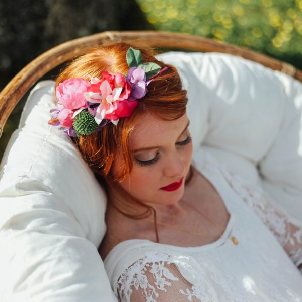 fleur fuchsia violet vert anis mariage coiffure accessoire de tête nature