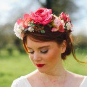 accessoire de tête rose orchidée hortensia ruban satin