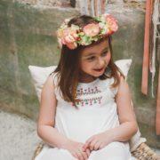 Courone Couronne fleur petite fille d'honneur corail pêche vert tendre printemps midinette