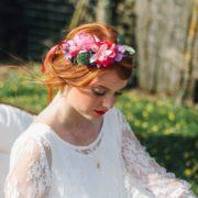 bijou de tête ruban fleurs colorées robe Orlane Herbin Style frais et pétillant