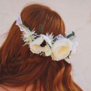 bandeau renoncule anémone blanche dentelle mariage hiver nature
