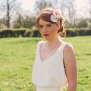 bandeau romantique vintage accessoire mariage fleurs rose prune Mademoiselle Emmanuelle