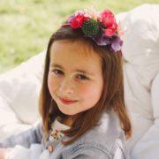 Courone Couronne fleur petite fille d'honneur framboise violet vert midinette