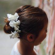 Pince fleur mariage fillette rose hortensia cheveux barrette fée kid nature