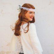 accessoire de tête headband renoncule anémone blanche dentelle mariage hiver nature