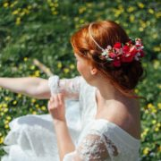 bijou de tête fleur colorée camaïeu de rose fleur artificielle mariée
