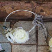 accessoire de tête mariage élégant anémone renoncule blanche