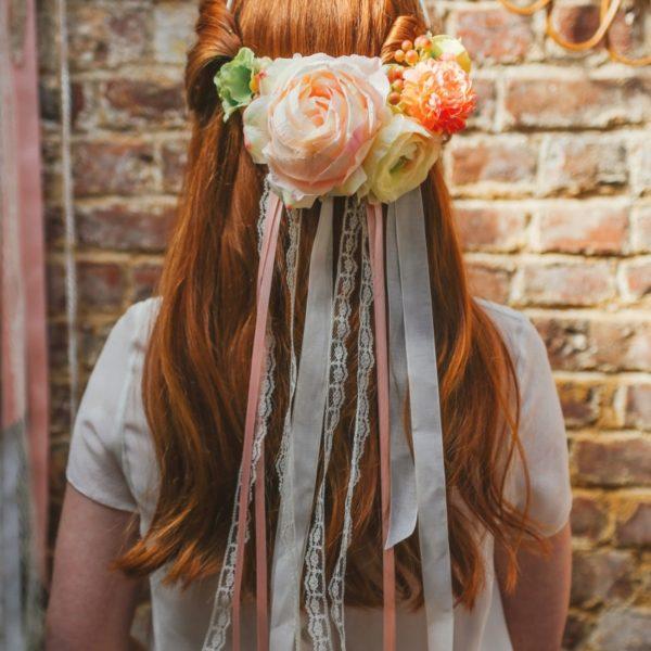 headband mariage fleur rose renoncule coquelicot chic bohème cheveux glamour mademoiselle margot