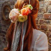 bandeau de mariage en fleurs artificielles ton pêche crème corail saumon rose orangé Mademoiselle Margot