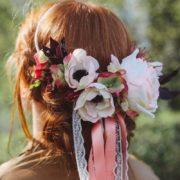 accessoire de tête bucolique mariage vintage rose anemone Mademoiselle emmanuelle
