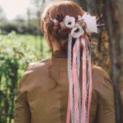 headband mariage fleur rose prune rose ancienne anemone dentelle vintagec bohème cheveux mademoiselle emmanuelle