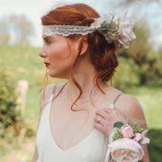accessoire de tête rose eucalyptus pois de senteur dentelle mariage gris vert rose
